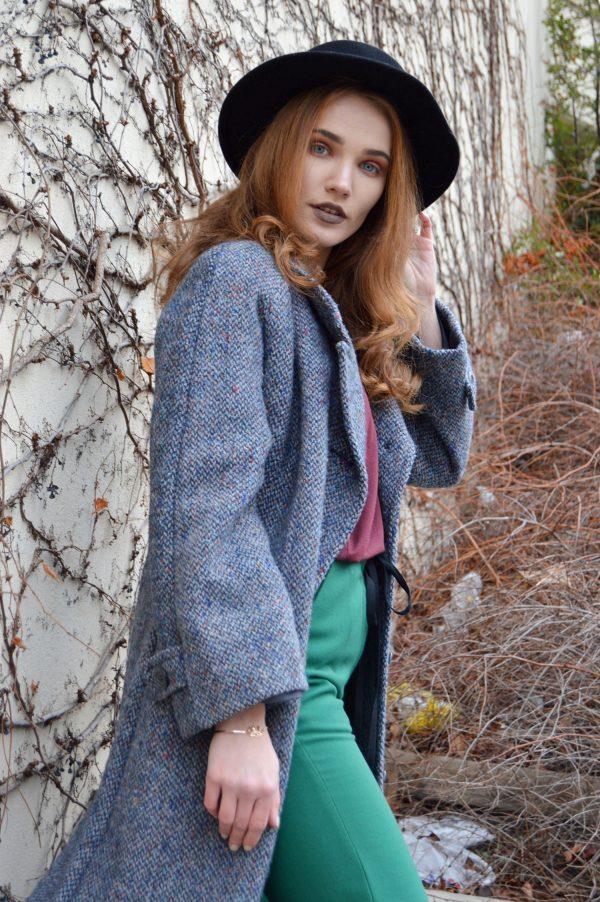 Modrý teplý zimní vlněný vintage kabát