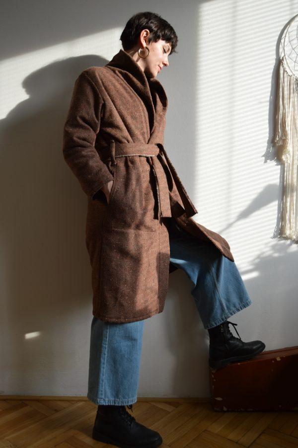 Rusty brown wrap slow fashion coat Prague