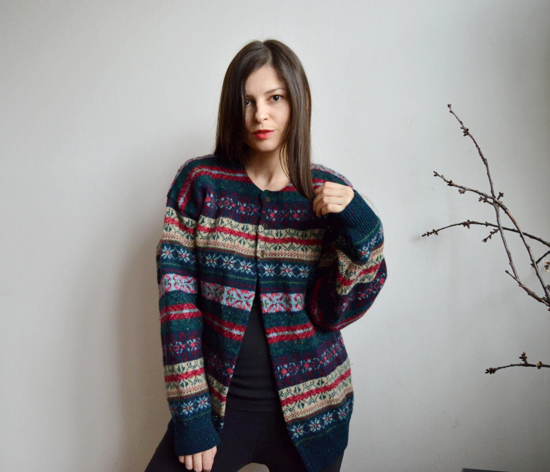 Barevný vlněný vintage svetr s norským vzorem