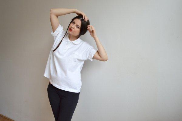 Bílé bavlněné oversize polo tričko