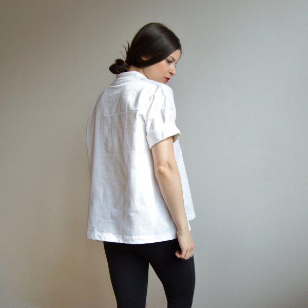 Dámske voľné biele polo tričko