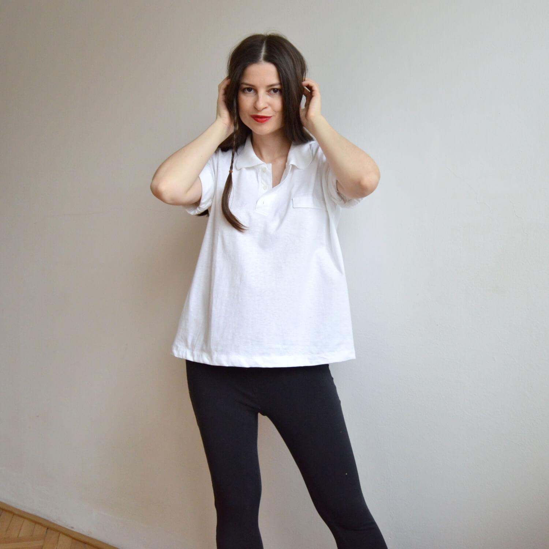 Dámské bílé recyklované volné tričko
