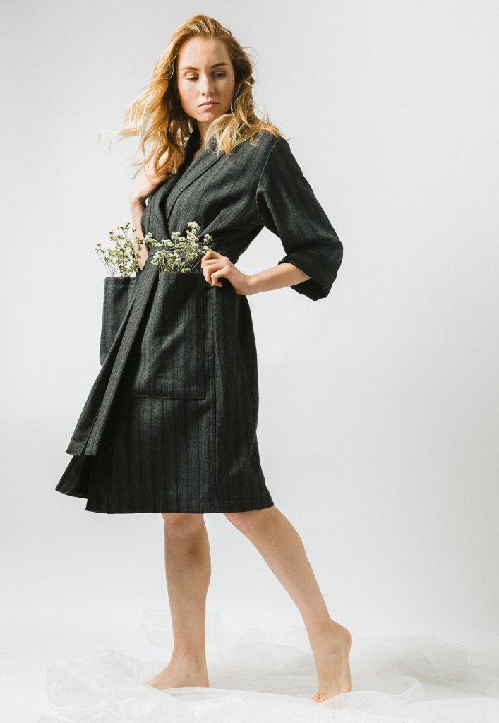 Dark grey wrap show fashion coat with stripes Prague
