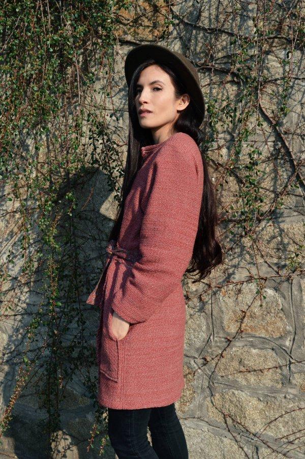 Ľahký jarný zavinovací slow fashion kabát
