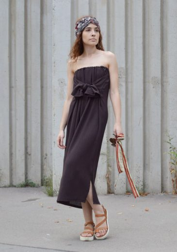 Brown strapless multifunctional dress with a tied bow in front.